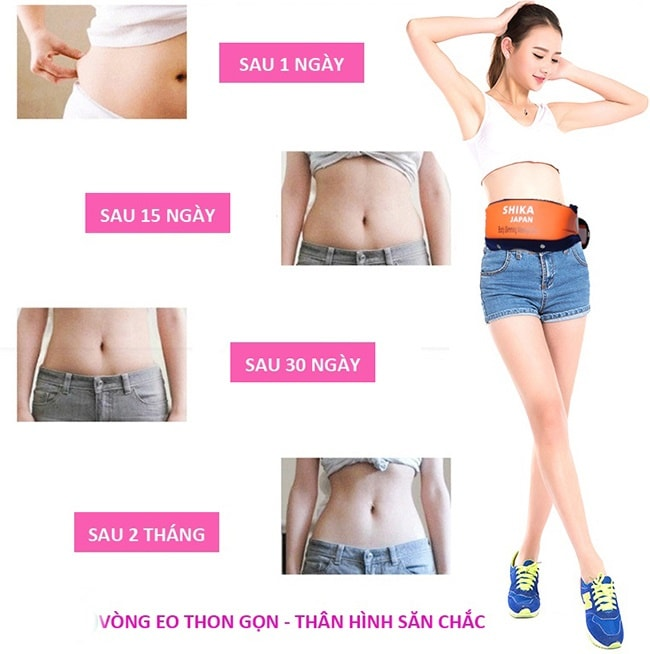 đai massage bụng giảm béo, quấn bụng giảm béo shika