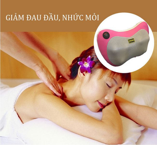 gối massage hồng ngoại 6 bi asuka